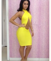 2014 New Arrival ! Fashion Bare Midriff Hollow Candy Color Bandage Dress for Women Evening Party Dress10076 Free Shipping
