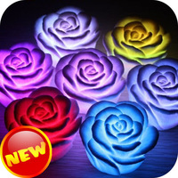 2014 Shopping Festival Free Shipping Romantic 7 Colors Changing Rose Flower LED Night Light Decoration Valentine's Day Light