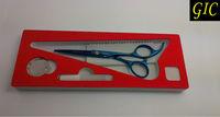 Professional Barber Scissor Stainless Steel Blue Titanium Coated Flat Blade Scissor 7001#  Free Accessories Free Shipping