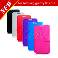 New Luxury Silk Folding Leather Cover For Samsung Galaxy S5 I9600 Flip Case With Card Bag Holder,50PCS DHL Free Postage