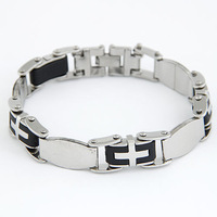 Min Order $10 Retro Jewelry Metal Chain Cross Bracelet For Men Punk