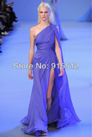Elegant Lilac Sheath Asymmetrical One Shoulder Ruched Top High Slit Chiffon Design Elie Saab Dresses for Sale
