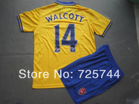Walcott Arsenal Jersey 13/14 Yellow Arsenal #14 Walcott Soccer Uniforms Kits embroidered Shirts& Shorts