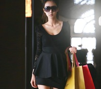 women dress long sleeve mini dress Elegnat Lace Black cotton blends Free Size
