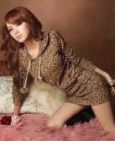 2014 New Spring Sexy Women Ladies Leopard Hoodie Mini Sweatshirts Pullover Tops, Free Size