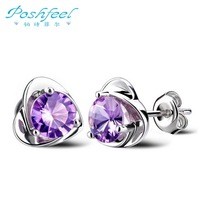 Luxury PF brand platinum plated 925 stamp silver stud earring with AAA Austria crystal earrings Smart heart