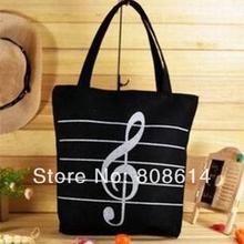 Girl Canvas Single Shoulder  Casua Musical Note Tote Portable Chic Shopping Bag(China (Mainland))