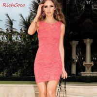2014 New Style Fashion Elegant Sexy Bodycon Sleeveless Back Open Lace Women Club Mini Dresses XS-XXL-P15572