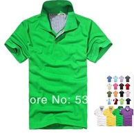 2014 Hot Sale Mens Cotton Polyester Casual Turn-down Polo Shirt 19 Colors Short Sleeve Shirts 6Size S-XXXL Wholesale