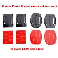 GoPro  Adhesive Mount kit, 2PCS Flat Adhesive Mount + 2PCS Curved Adhesive Mounts Kit For GoPro Hero 4 2 3 Black Edition