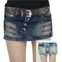 2014 autumn and winter hot oblique buckle distrressed sequin low-waist short denim skorts all-match miniskirt shorts