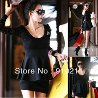 Black Womens SPLICE Dress Sexy Lace Long Sleeve Clubbing Cocktail Party Mini 2102