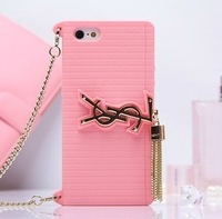 Luxury Fashion Brand Bag Design Silicone Case With Chain Handbag Purse for iPhone 4 4S Free Shipping