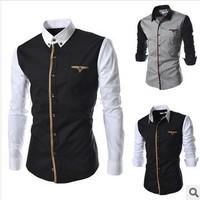 2014 men's fashion casual shirt long-sleeve black xl cotton shirts patchwork men clothing brand casual dress man plus size men