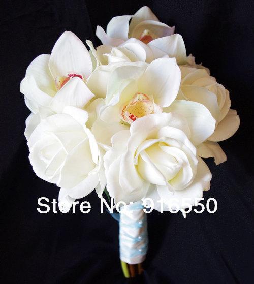 Frete Grátis Verdadeiro Toque Bouquet de casamento com Branco toque real rosas e orquídeas Cymbidium Natural Toque Flor Noiva Bouquet(China (Mainland))