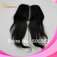 "Cheap Fashional Natural Color Sraight Middle Part 5""*5"" 6A Virgin Brazilian Human Hair Lace Closure Bleached Knots"