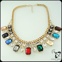 Hot!! New arrival colorful crystal rhinestone decorated gold charm necklace JA0035
