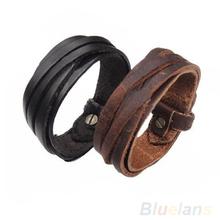 Men Women Unisex Multi thong braided thin Genuine Leather Bracelet wristband Jewelry Items
