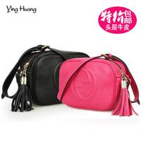 2014 star fashion genuine leather messenger bag brief women's handbag first layer of cowhide tassel one shoulder cross-body bag