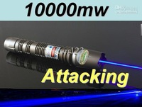 Wholesale - laser-445nm 450nm 10000mw Waterproof focusable blue laser pointer burning torch +aluminium case+free