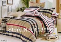 brand brown big plaid duvet cover set/ queen flat sheet sets/ bedding comforter set /bedclothes bedcover bedset for man