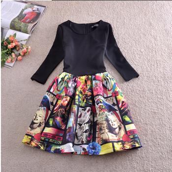 Новый 2014 весна мода печать платье тонкий Большой размер цельный мини платье женщины платье. зима платье
