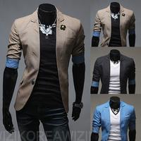 free shipping new 2014 spring men's short-sleeve men's personality, Men multicolor wild little suit jacket fashion ,fit slim men