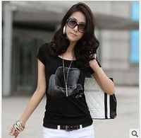 Women's 2014 summer t-shirt female fashion short-sleeve slim plus size 100% cotton basic shirt