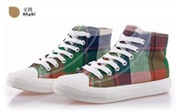 Drop shipping 2014 spring lady  lace-up plaid  breathable CN 35-39  canvas shoes