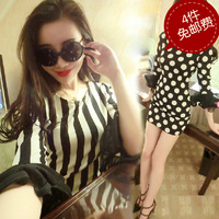 2014 spring fashion vintage sweet geometry color block stereo flare sleeve fashion one-piece dress basic skirt