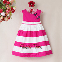 Newest Style Kids Summer Dress Girls Red And White Cotton Stripe Dresses Children 2014 Fashion Child Clothes For Toddle Wear
