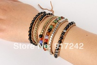 Natural agate beads CCB burst pattern 5 laps wound leather bracelet leather bracelet male and female models