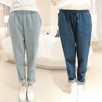2014 spring women's fashion loose harem pants female retro finishing jeans harem pants trousers