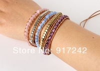 Opal pink violet wild section 5 layer wrapped leather bracelet female character's leather bracelet