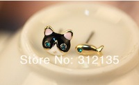 Free Shipping Fashion Painting Alloy Cat+Fish Design Girl Stud Earring  Gold Plating 12pairs/LOT