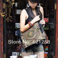 New Arrival & free shipping!  Original style women's handbag handmade coins embroidery flower bag canvas cross-body bag events