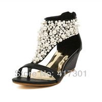 2014 Women's Pu Upper Wedge Heel Sandals Fashion Design Women Summer Shoes