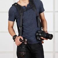 New Professional Belt Strap Double Shoulder for Nikon Canon Sony Panasonic Tow Video Camera SLR DSLR Black