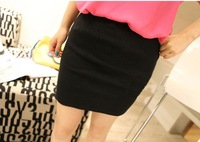 Candy color short skirt mm plus size elastic slim hip skirt step basic skirt bust skirt female