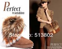 Free shipping 2014 winter warm high long snow boots artificial fox rabbit fur leather tassel women's shoes,yyyyyy-31