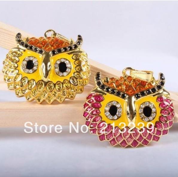 2014 New crystal owl head model usb 2.0 memory flash stick pen drive 4GB - 32GB(random colour)(China (Mainland))