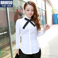Brioso2014 spring white shirt female pure cotton long-sleeve 100% tooling shirt ol women's
