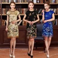 Elegant 2014 women's cheongsam national embroidery trend fancy silk one-piece dress 5551