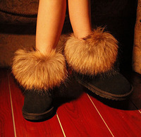 2014 Korean version of the new winter shoes waterproof non-slip imitation fox fur boots snow boots women boots