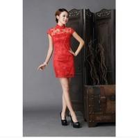 2014 wedding formal dress bridal vintage fashion red evening dress cheongsam