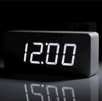 White Home Desktop Table Wood LED Clock, Voice Activation Wooden Led Digital Electronic Alarm Clock & LED Thermometer