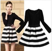 Vestidos New 2014 Black White Stripe Ladies Dresses Winter Autumn Long Sleeve Vintage Women  M-XL #D10525  dress