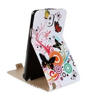 Fashion Flip PU Leather Stand Cases For Samsung Galaxy Note iii 3 N9000 Flowers and Butterfly Cute Case Cover