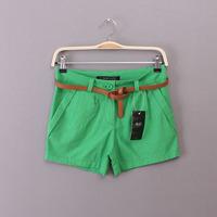 Women's summer linen shorts chromophous slim casual thermal fluid waist of belt
