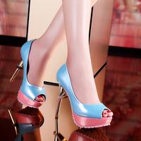 Moolecole 2014 spring open toe single shoes high-heeled shoes platform thin heels women's shoes